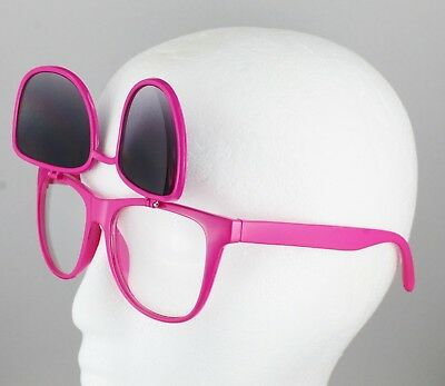 3f1bf1ccb2 Pink frame flip up top lens clear sunglasses mirrored retro 80s classic  style
