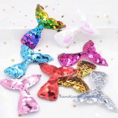 16Pcs Pads Mermaid Tail Shiny Rainbow Sequin Appliques for DIY Crafts Hair Clip