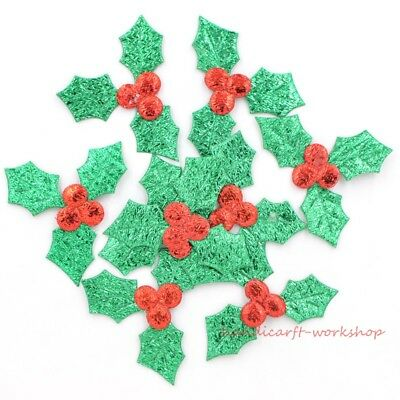 HOT 60Pcs Holly Berries and Leaves Appliques for Christmas Decoration Patches