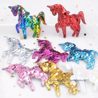 NEW 8Pcs 65mm Padded Unicorn Sew Iron on Appliques Patches with Sequin Embroider