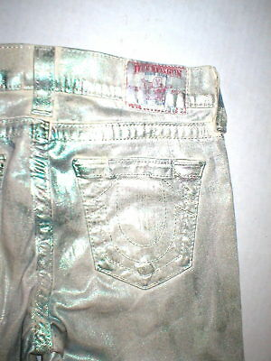 New Womens True Religion Brand Jeans 26 Coated Skinny Pant Green Metallic Rainbo