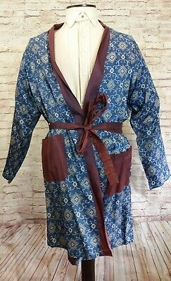 Original 1950s Vintage Tootal gown robe blue pattern with purple satin trim