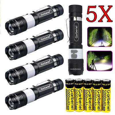 2pc Tactical 15000LM T6 Power LED Zoom USB Flashlight +18650 Battery & USB Cable