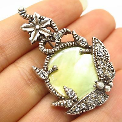 Vtg 925 Sterling Silver C Z & Real Mother-Of-Pearl Floral Design Pin Brooch