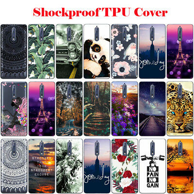 For Nokia 6 8 Ultra Slim Shockproof Clear Soft Silicone Painted TPU Case Cover