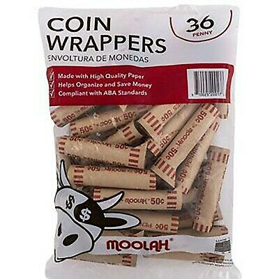 Crimped Penny Coin Wrappers - 36 Count