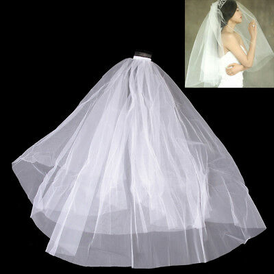 White Simple Two Layer Tulle Wedding Veil Ribbon Edge Comb Bridal Accessories UK