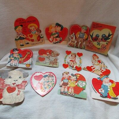 1950's Vintage Lot of 12 Valentine Greeting Cards, Dog, Giraffe, Birds, Clowns