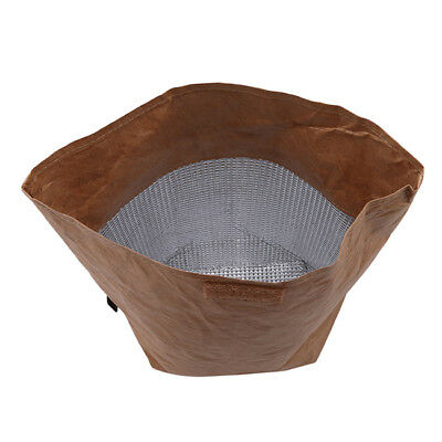 Brown Insulated Thermal Kraft Paper Lunch Bag Retro Style Re-usable Lunch Box D