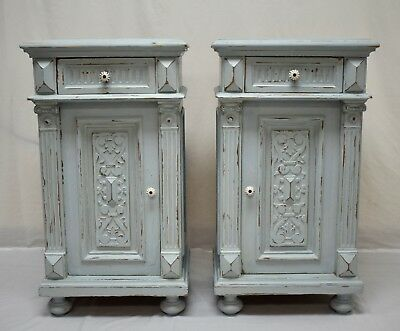 Pair of Antique Painted Oak and Pine Nightstands