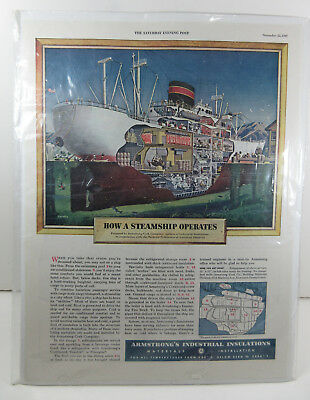Vintage Saturday Evening Post 1947 Print Ad How A Steamship Operates Armstrong