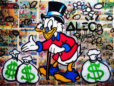 """Alec Monopoly Oil Painting on Canvas Abstract Graffiti art Mr. Scrooge 28x40"""""""