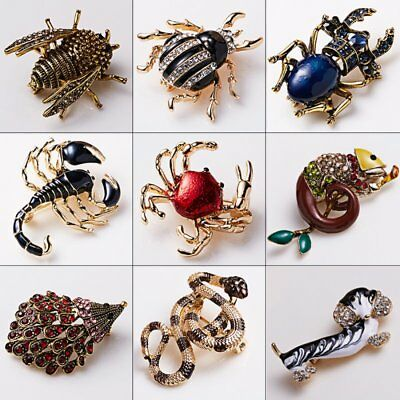 Vintage Crystal Animal Enamel Brooch Pin For Women Party Casual Costume Jewelry