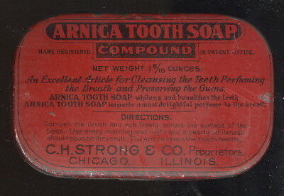 Small Hinged Tin Box Advertising Arnica Tooth Soap, C H Strong Co. Chicago, Il.