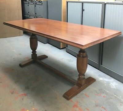 Solid English Oak Refectory Table | Antique Trestle table turned legs