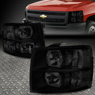 For 07-14 Chevy Silverado Tinted Housing Clear Corner Headlight Replacement Lamp