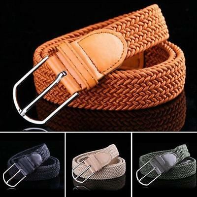 Women Buckle Leather Braided Elastic Stretch Belt Waistband Strap Fashion Men