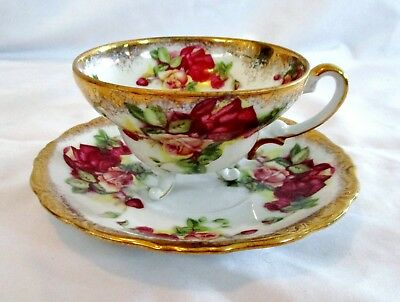 Vintage Old Gold Japan Hand Painted Footed Tea Cup & Saucer Set Pink Roses