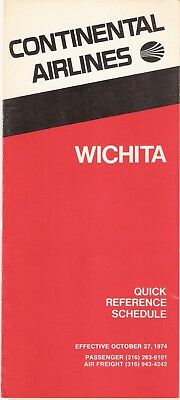 Continental Airlines Wichita Ict City Timetable October 27, 1974 Vg+
