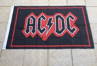 ACDC AC/DC Rock Flag 3x5 FT Black Red New Hells Bells Thunderstruck Banner Band