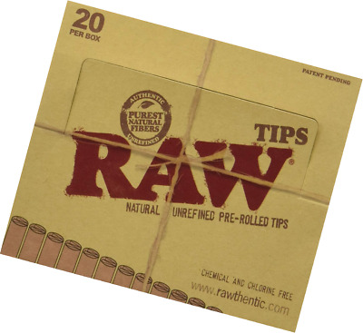 Raw Natural Unrefined Pre-Rolled Filter Tips Full Box Of 20 Pack (21 Per Box)