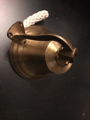Solid Brass 6 Inch Large Door/wall/ship Bell With Rope ( Amat 4515 )