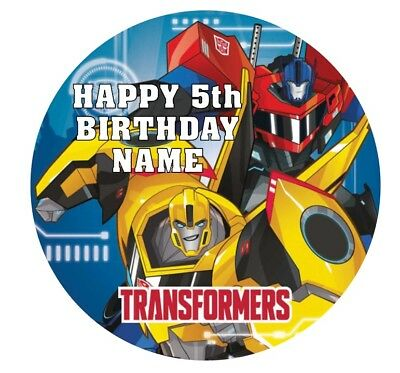 Transformers Personalised Edible Icing Cake Topper 19cm PRE-CUT