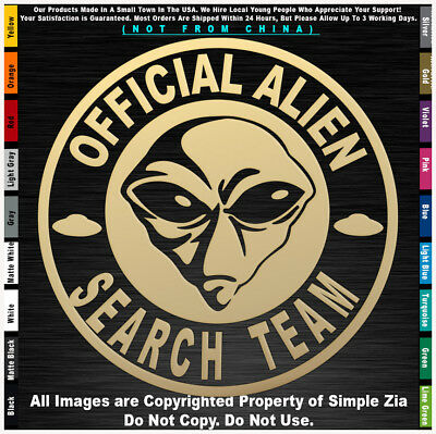 Aliens Official Alien Search Team Round UFO Roswell Space area 51 sticker decal
