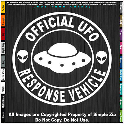 Aliens Official UFO Response Vehicle Round Roswell Space area 51 sticker decal