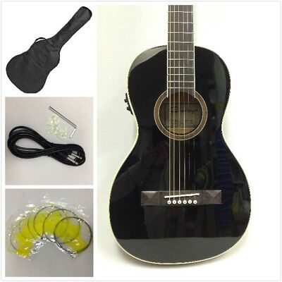 Caraya Parlor Guitar Ebony 590BK with EQ  + Free Gig Bag, Extra String Set