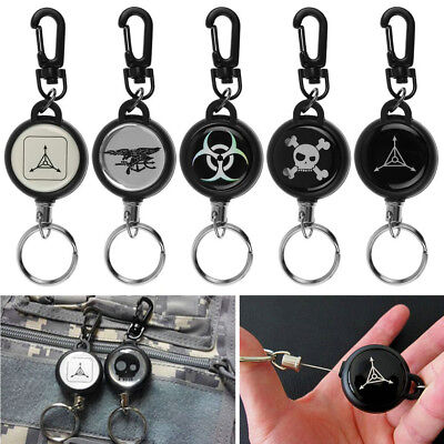 Retractable Pull Key Chain Carabiner Reel Card Badge Holder Recoil Extends