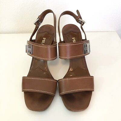 Prada Leather Turn Lock Slingback Sandal Sz 39 Block Heel Adjustable Strap