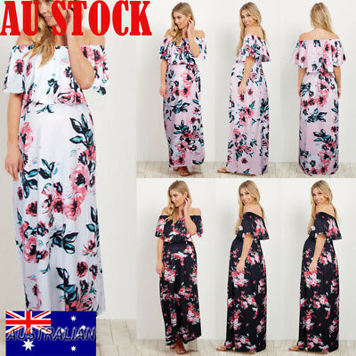 Womens Boho Floral Maxi Long Dress Off Shoulder Pregnant Maternity Casual Dress