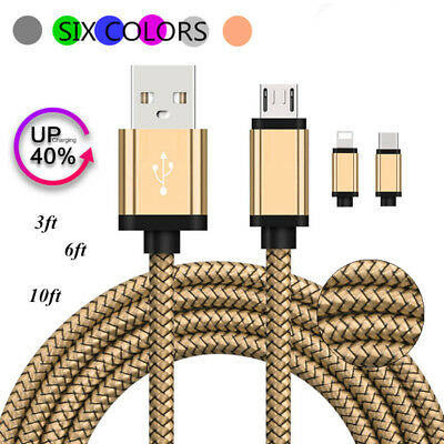 1M 2M 3M Braided Micro USB/Type C/Lightning Fast Charger Data Sync Cable Cord
