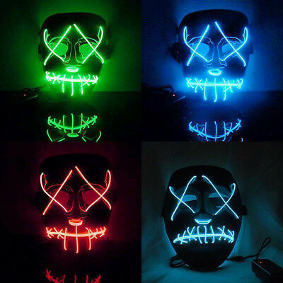 LED Full Face Mask Purge Movie EL Wire DJ Party Halloween Costume Cosplay UK
