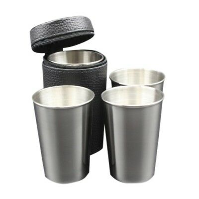 4/6 Pcs Stainless Steel Camping Travel Mug Beer Tumbler Coffee Tea Cups+PU Cover