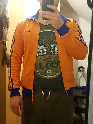 Adidas trainings jacke Orange Blau Oldschool Retro Vintage