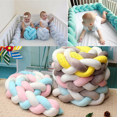 1.5/2/3/4M Colorful Knot Pillow Baby Bedding Sheets Cushion Braided Crib Bumper