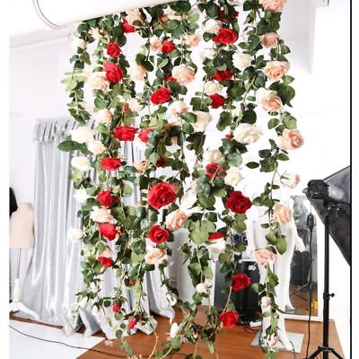 Hanging ivy vine fake silk rose flower garland party home garden hanging ivy vine fake silk rose flower garland party home garden wedding decor mightylinksfo