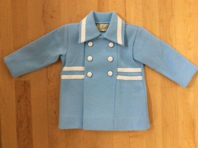 Little World Vintage Knit Toddler Baby-Blue Double Breasted Easter Spring Coat
