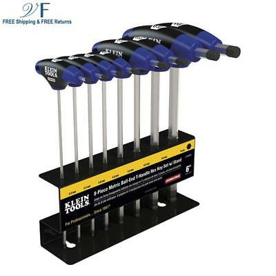 Hex Key Kit with Stand, Ball End T-Handle, 6-Inch Metric, 8-Piece Klein Tools JT