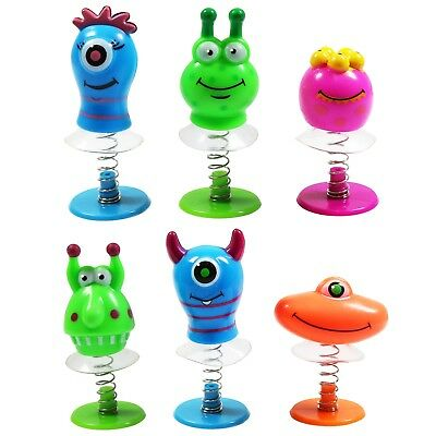 6 Mixed Kids Halloween Scary Monster Alien Jump Ups Spring Party Bag Filler Toys