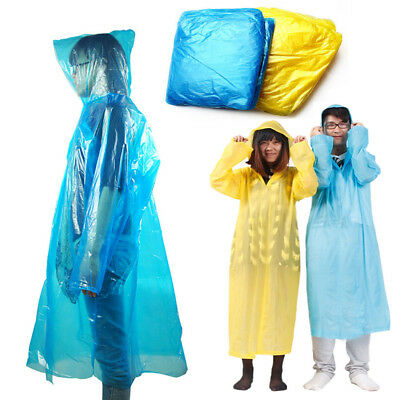 Disposable Emergency Waterproof Rain Coat Poncho Hiking Camping Portable Unisex