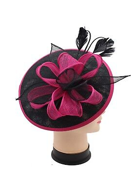 Large Headband and Clip Hat Black Fuschia Fascinator Weddings Race Royal Ascot