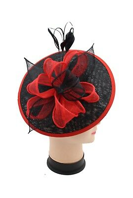 Large Headband and Clip Hat Black & Red Fascinator Weddings Race Royal Ascot