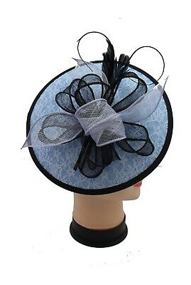 Large Headband and Clip Hat Light Blue Lilac Fascinator Wedding Race Royal Ascot