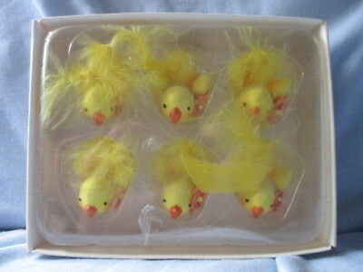 Vintage set of 6 miniature styrofoam feather adorable peeping Easter Chicks