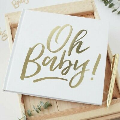 White & Gold Oh Baby! Guest Book Sign Baby Shower Party Keepsake Visitors Book