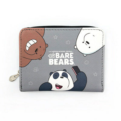 WE BARE BEARS Grizzly Panda Icebear Kids Half Zip Wallet Purse Multi Pocket Gray