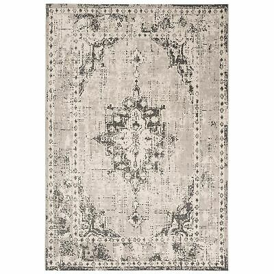 Traditional Medallion Design Living Room Classic Mat Grey Faded Revive RE02 Rugs